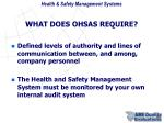 what does ohsas require1