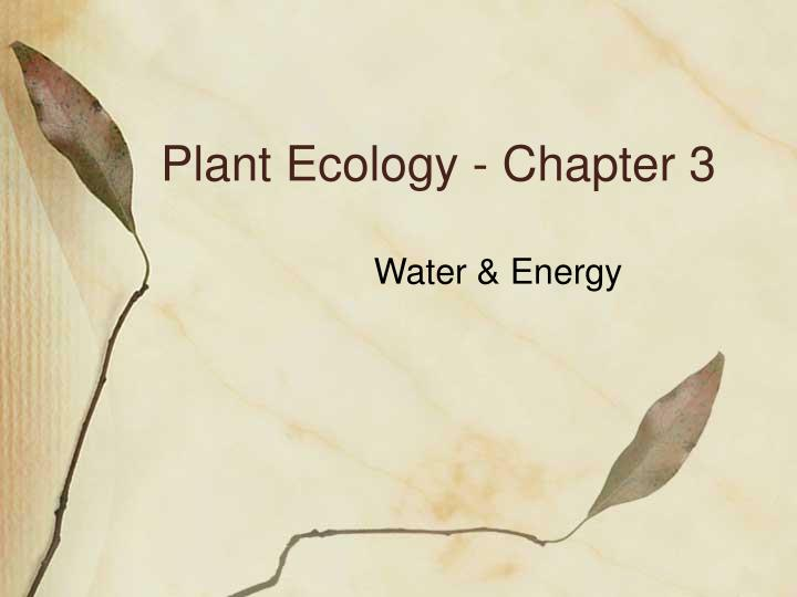 plant ecology chapter 3 n.