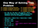 one way of solving this problem
