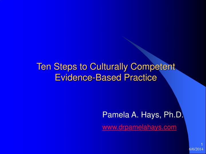 ten steps to culturally competent evidence based practice n.