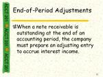 end of period adjustments