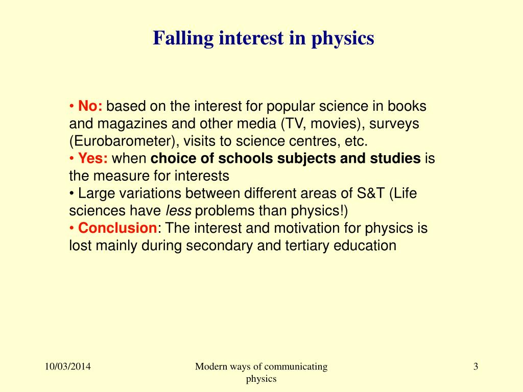 Falling interest in physics