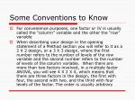 some conventions to know