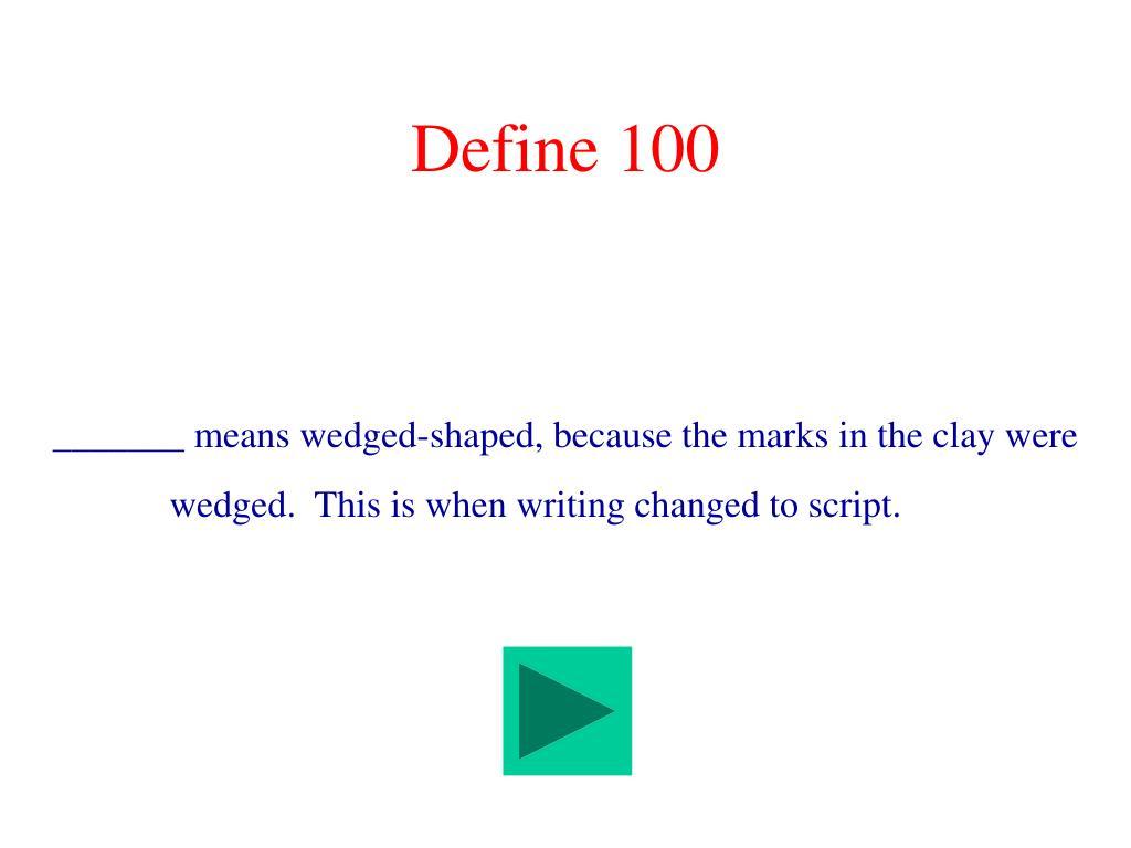Define 100