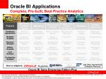 oracle bi applications complete pre built best practice analytics