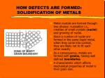 how defects are formed solidification of metals