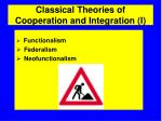 classical theories of cooperation and integration i