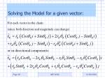 solving the model for a given vector