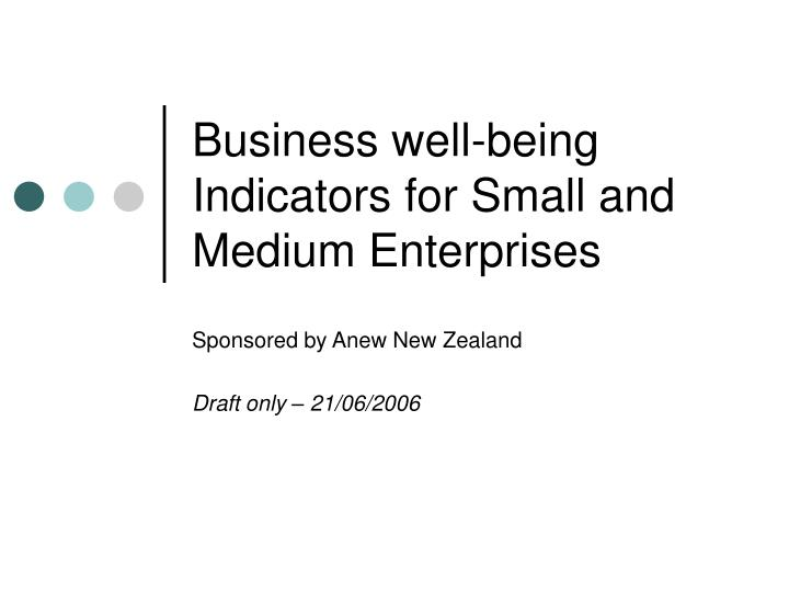 business well being indicators for small and medium enterprises n.