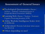 assessment of general issues
