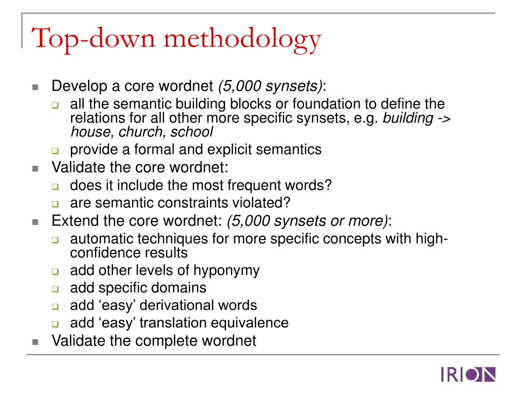 Top-down methodology