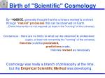 birth of scientific cosmology