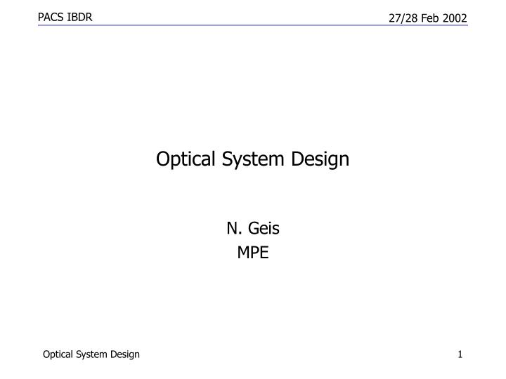 optical system design n.