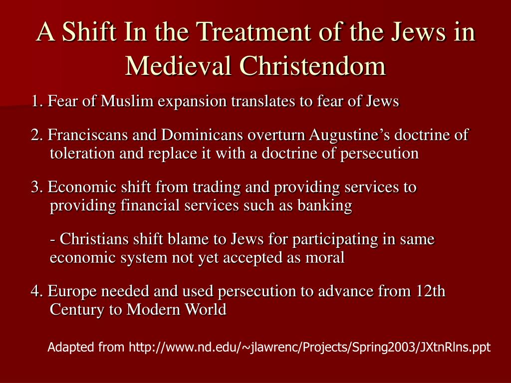 A Shift In the Treatment of the Jews in Medieval Christendom