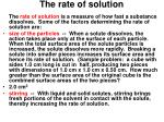 the rate of solution