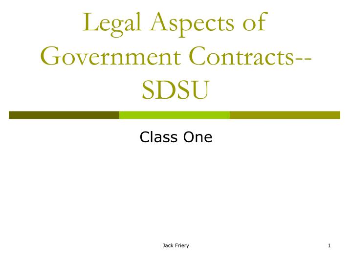 legal aspects of government contracts sdsu n.