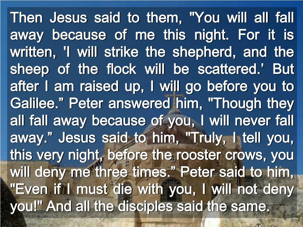 """Then Jesus said to them, """"You will all fall away because of me this night. For it is written, 'I will strike the shepherd, and the sheep of the flock will be scattered.' But after I am raised up, I will go before you to Galilee."""" Peter answered him, """"Though they all fall away because of you, I will never fall away."""" Jesus said to him, """"Truly, I tell you, this very night, before the rooster crows, you will deny me three times."""" Peter said to him, """"Even if I must die with you, I will not deny you!"""" And all the disciples said the same."""