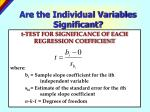 are the individual variables significant1
