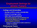 employment settings for athletic trainers1