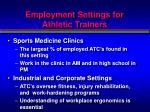 employment settings for athletic trainers2