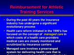 reimbursement for athletic training services
