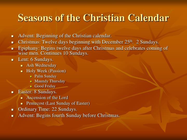 Seasons of the christian calendar