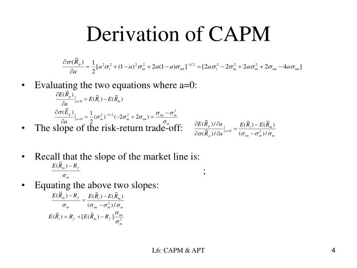 derivation of the capm Given the perfect market assumptions of the single period-index capm, consider an investor who initially places nearly all their funds in.