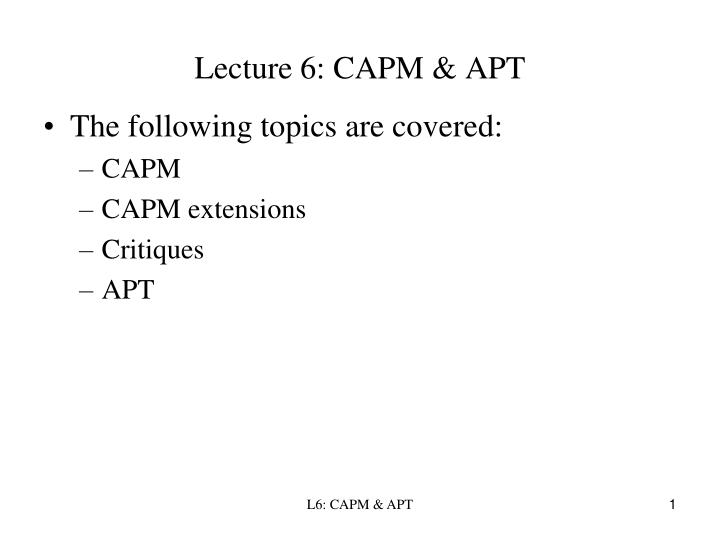 lecture 6 capm apt n.