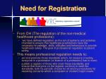 need for registration