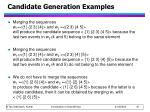 candidate generation examples