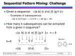sequential pattern mining challenge