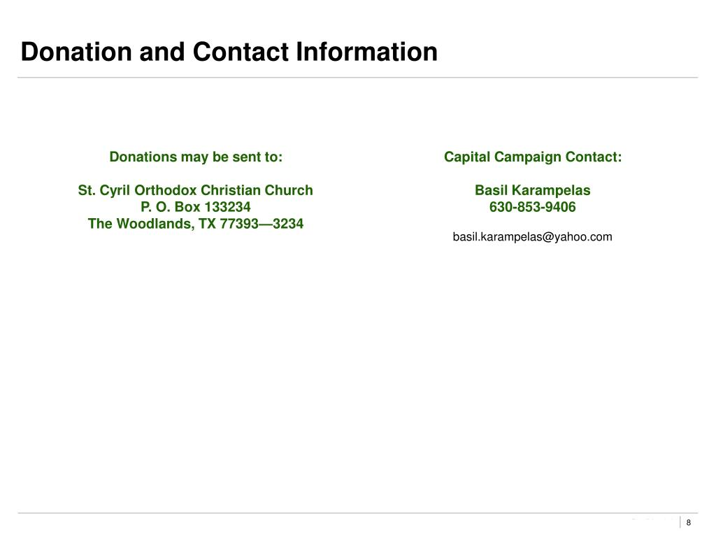 Donation and Contact Information