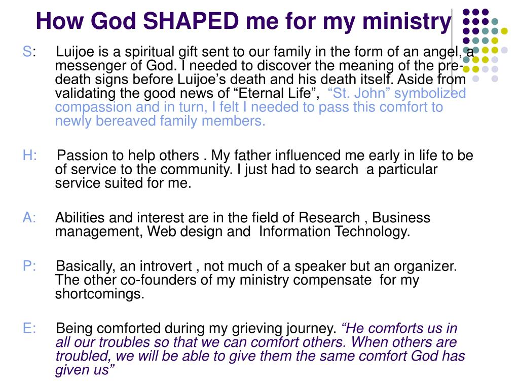 How God SHAPED me for my ministry