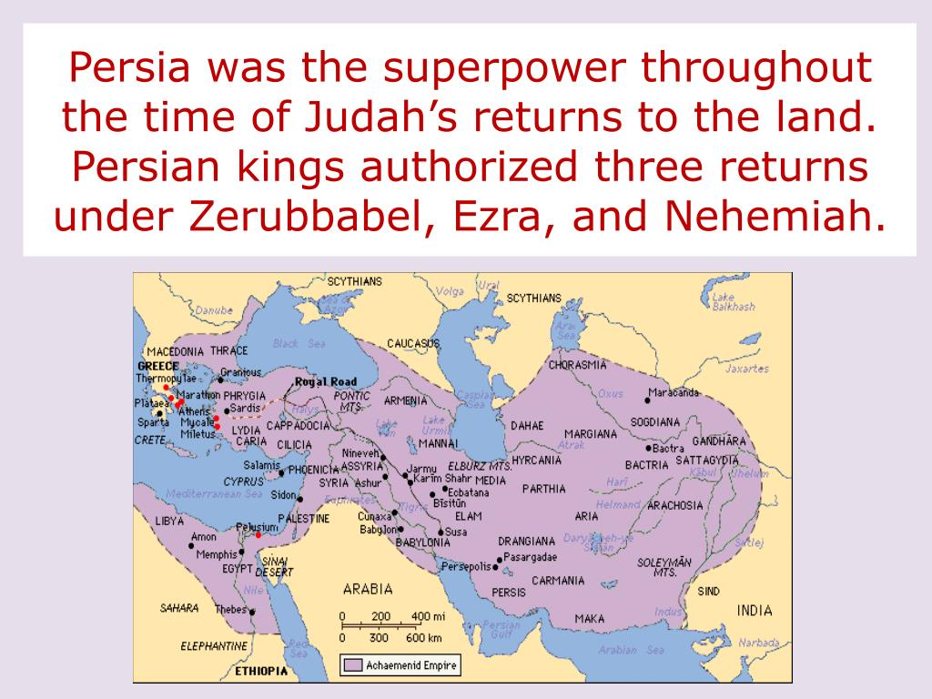 Persia was the superpower throughout the time of Judah's returns to the land.  Persian kings authorized three returns  under Zerubbabel, Ezra, and Nehemiah.