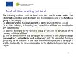 feed additive labelling pet food