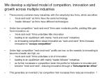 we develop a stylised model of competition innovation and growth across multiple industries