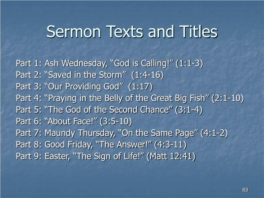 Sermon Texts and Titles
