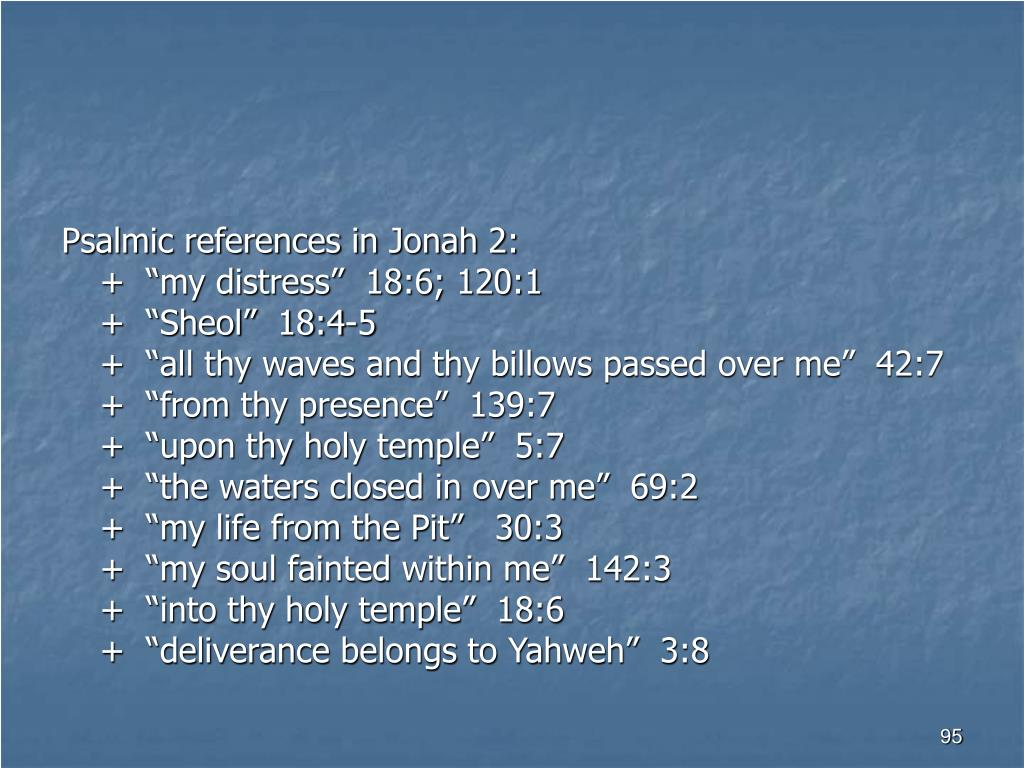 Psalmic references in Jonah 2: