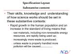 specification layout substantive content