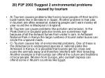 20 p2f 2002 suggest 2 environmental problems caused by tourism