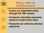 filing a claim for reimbursement