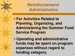 reimbursement administrative