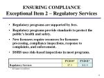 ensuring compliance exceptional item 2 regulatory services2