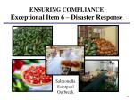 ensuring compliance exceptional item 6 disaster response1