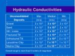 hydraulic conductivities