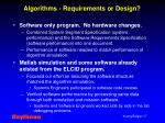 algorithms requirements or design