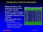 configuration control for simulations