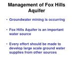 management of fox hills aquifer