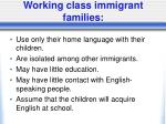working class immigrant families