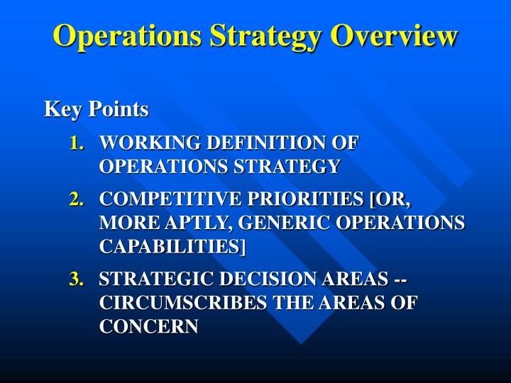 operations strategy overview n.